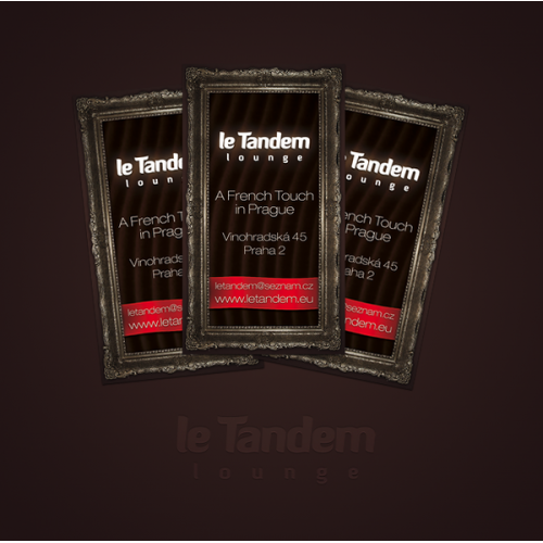 Business cards design for Le Tandem lounge in Prague, Czech Republic.