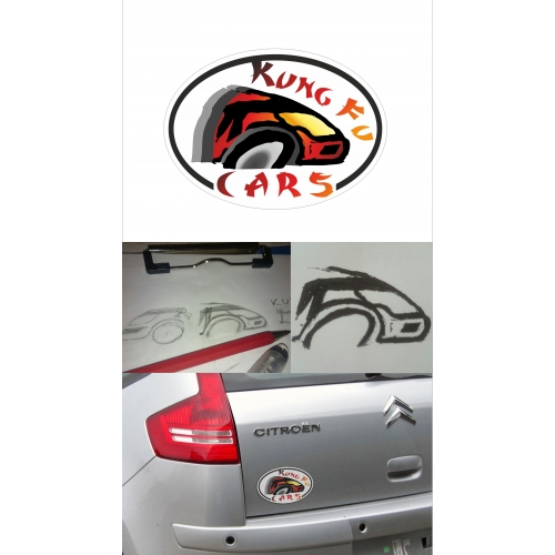 Hand Drawn proposal fot Kung Fu cars Logo