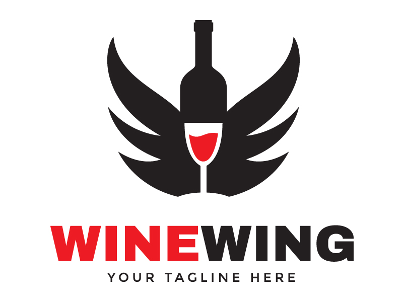 Wine Wing Logo by Maraz  a perfect logo for Restaurant
