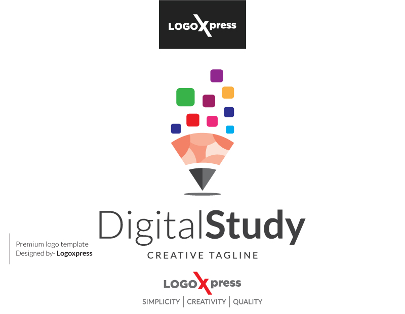 Creative Learning - Digital Study Logo by Logoxpress  a perfect logo for Technology
