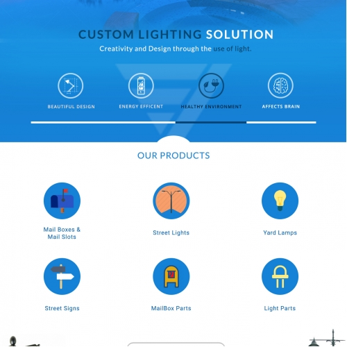 Landing Page for A lighting Firm