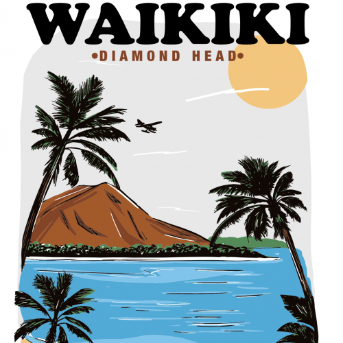 Waikiki island illustration
