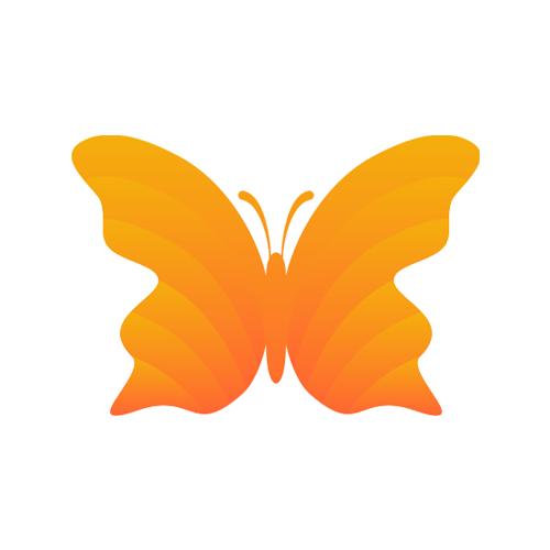 3D butterfly logo design