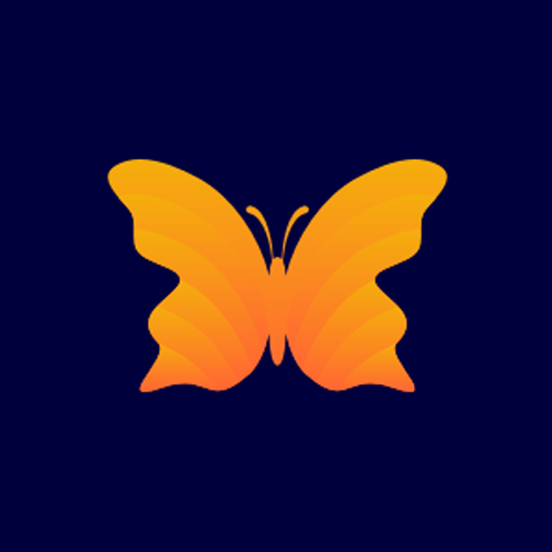3D butterfly logo design dep navy background
