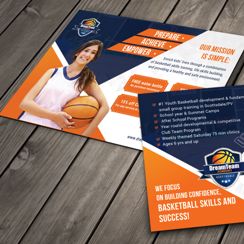 Sports Acedemy Postcard Design