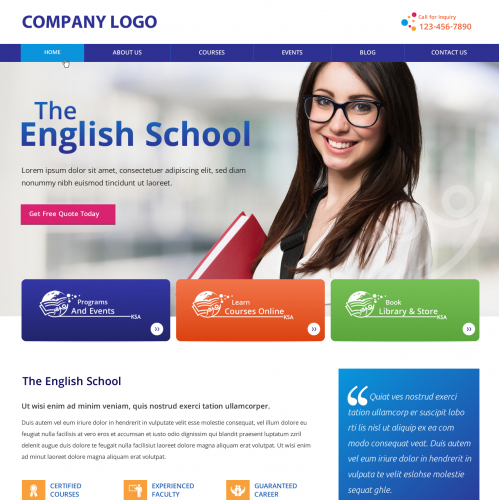Educational Homepage with Registration Form - Website