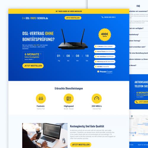 Internet provider landing page concept