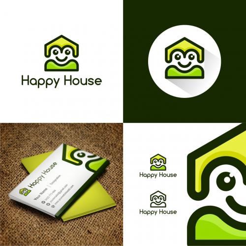 Happy house logo concept