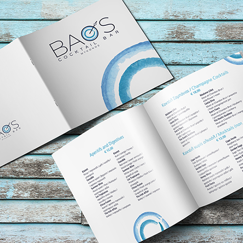 Logo and brand id for Baos Cocktail Bar @ Mykonos