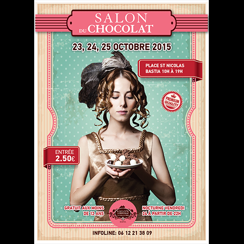 Poster for a Chocolate products event