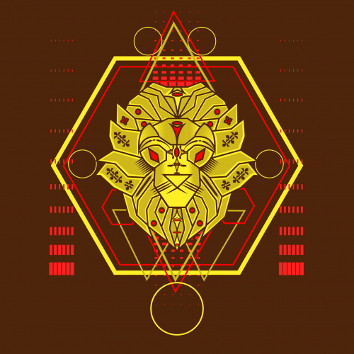 The Yellow Lion Sacred Geometry Ornament