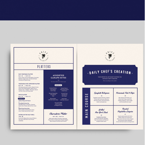 Minimal menu design for bar