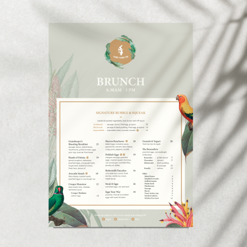 Tropical Themed High End Restaurant Menu