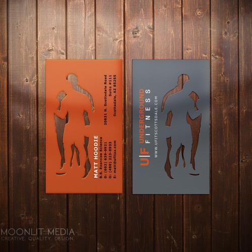 Underground Fitness Custom Die Cut Business Cards