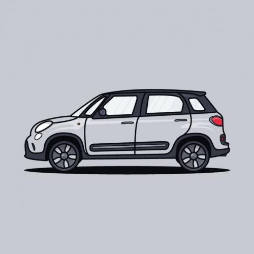 Fiat 500  Car Illustration