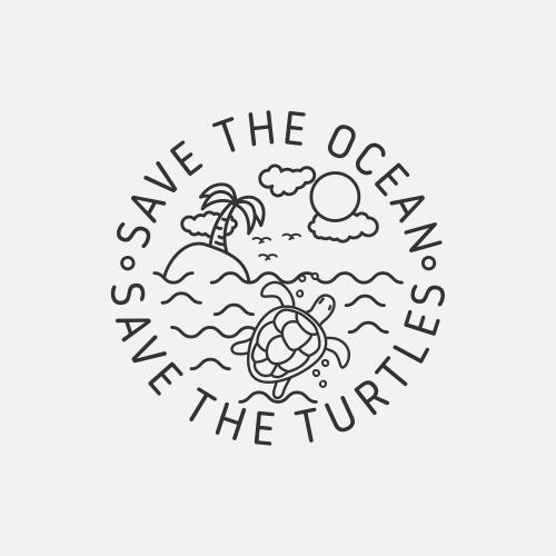 Turtle Eco Range Tshirt Design Save The Ocean