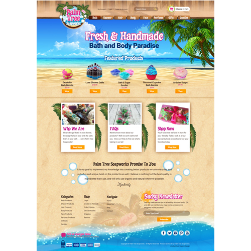 Beach Theme Skin Products Website Design
