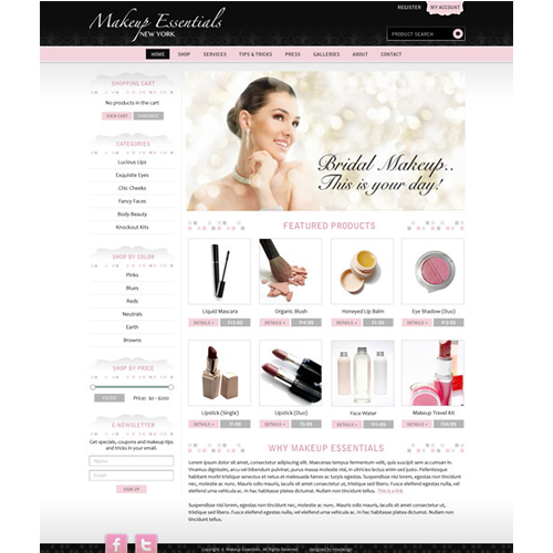 Makeup and Beauty Products Website Design