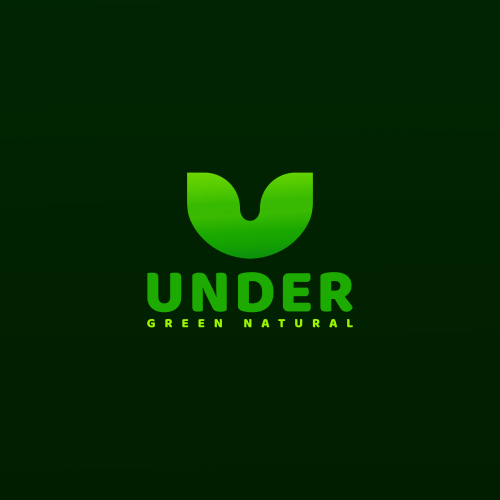 Natural Logo, Green logo, U letter natural logo design