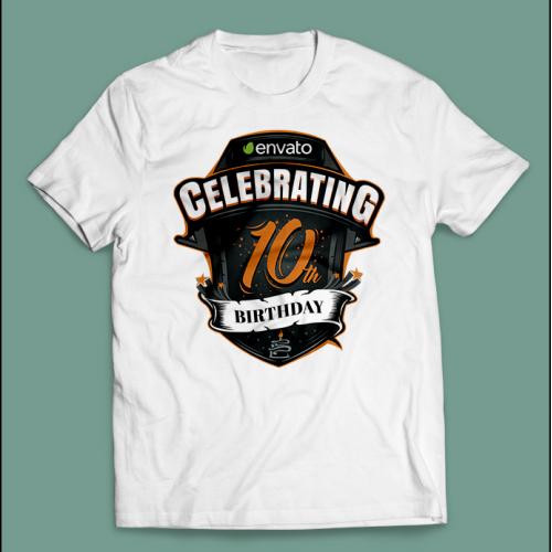 T-shirt design for Envato's 10th b'day celebration
