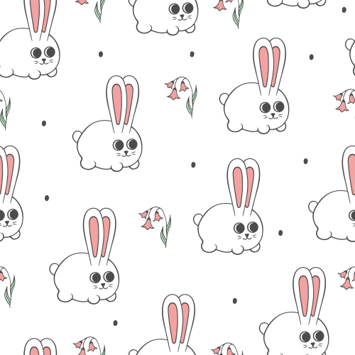 Happy Easter pattern with cute Bunny and flowers