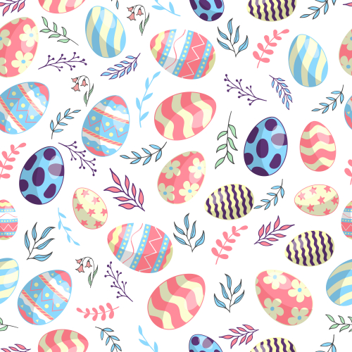 Happy Easter pattern with eggs and branches