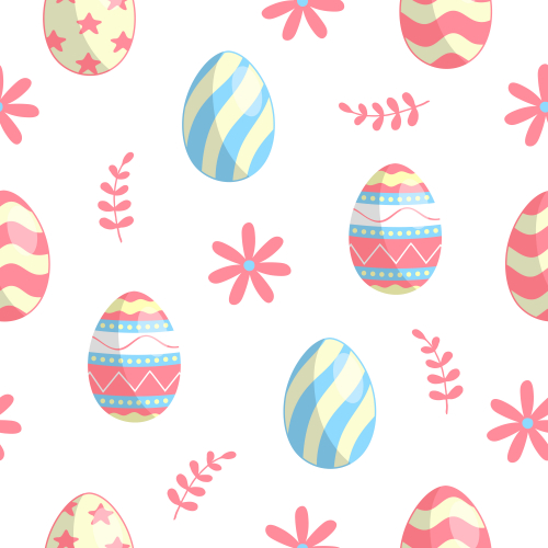 Happy Easter pattern with eggs, branches and flowers