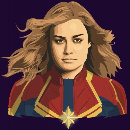 Captain Marvel vector portrait