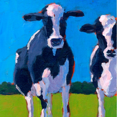 Acrylic Painting of Cows