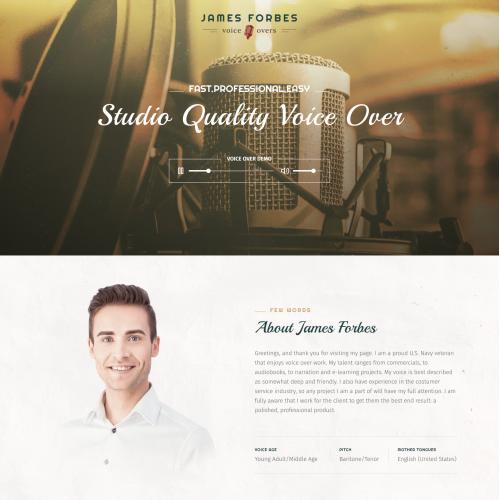 Website for personal Voice Over Studio
