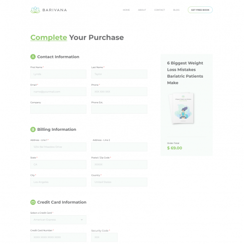Payment Page for website