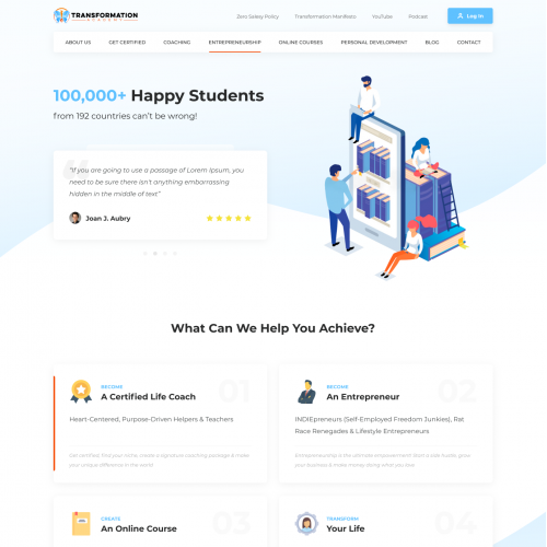 Homepage for Transformation Academy