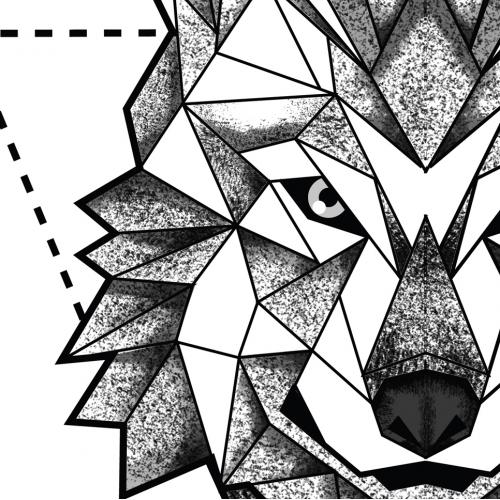 Geometric Wolf Tattoo Design