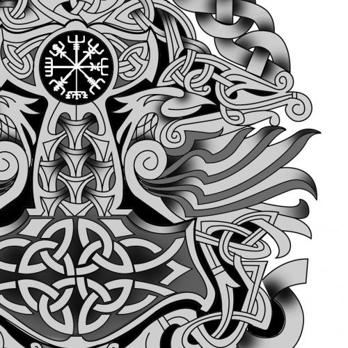 Nordic Celtic Full Sleeve Tattoo Design