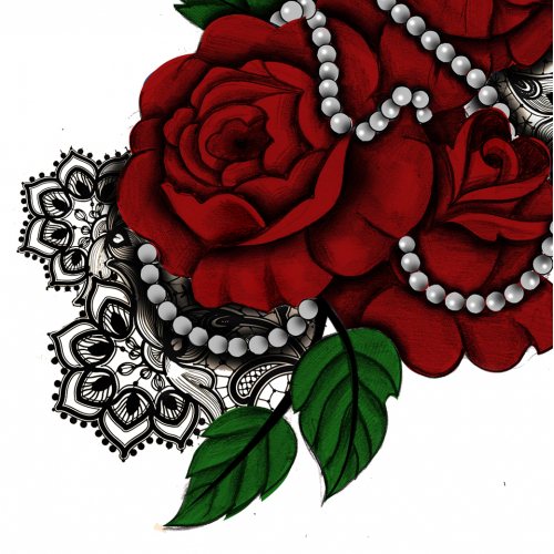 Womens Hip Roses with Pearls Tattoo Design