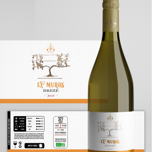New modern, clean wine label with natural inspiration