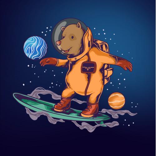 bear skating in space logo