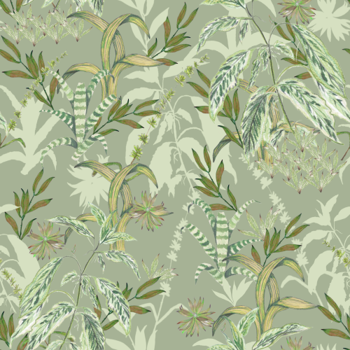 Green Botanical Pattern Design