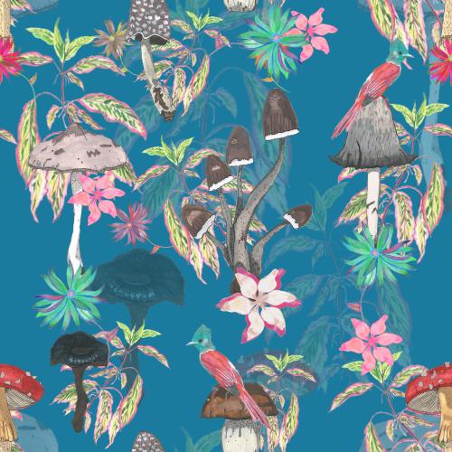 Botanical Pattern Design with Mushroom