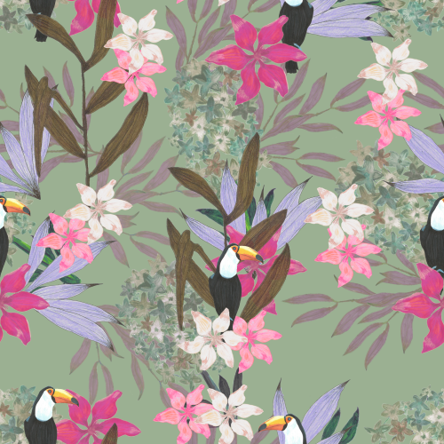 Botanical Pattern Design with Toco Toucan