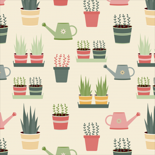 Potted house plants and watering cans pattern
