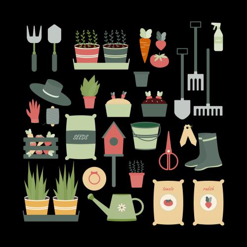 Gardening tools and plants illustration