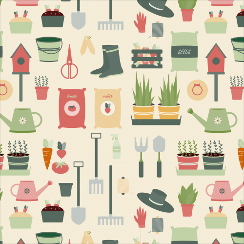 Garden tools and plants pattern