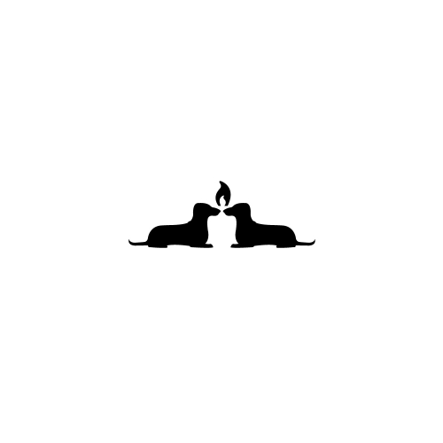Two dogs and candle