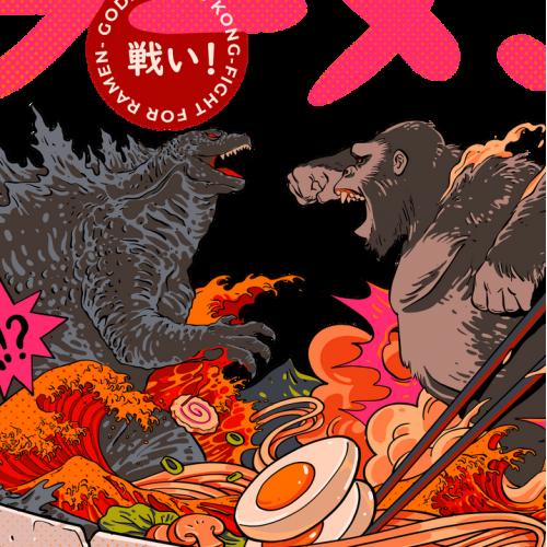 Godzilla vs Kong fight for ramen