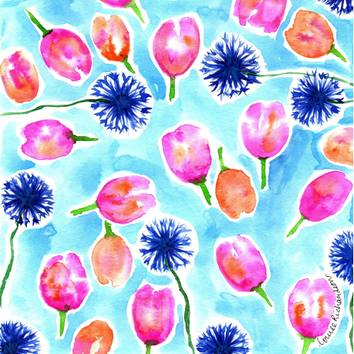 Cornflower and tulip