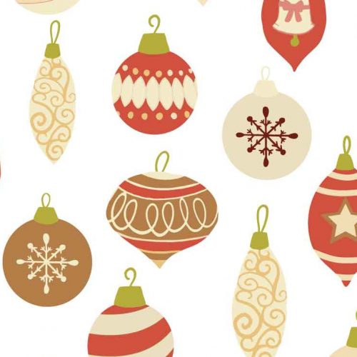 Traditional Christmas Baubles Pattern, Red and Gold