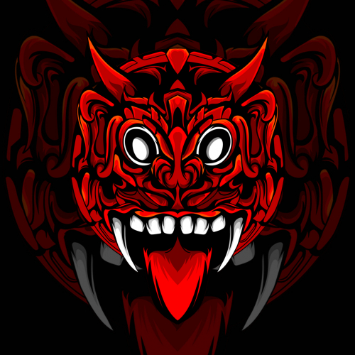 Red Barong Head with White Fangs