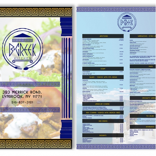 Greek restaurant menu