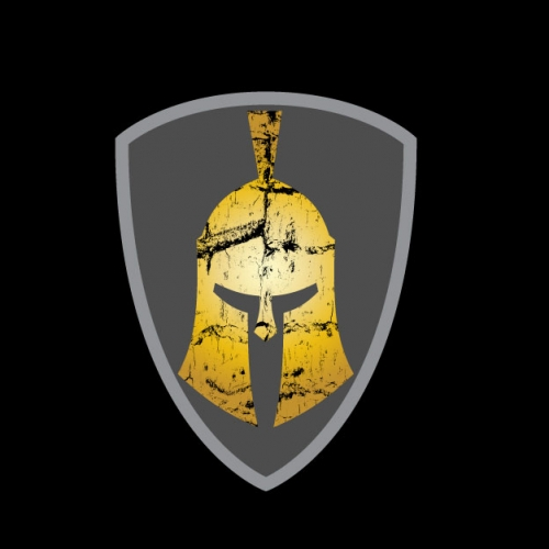 Spartan Helmet on a shield